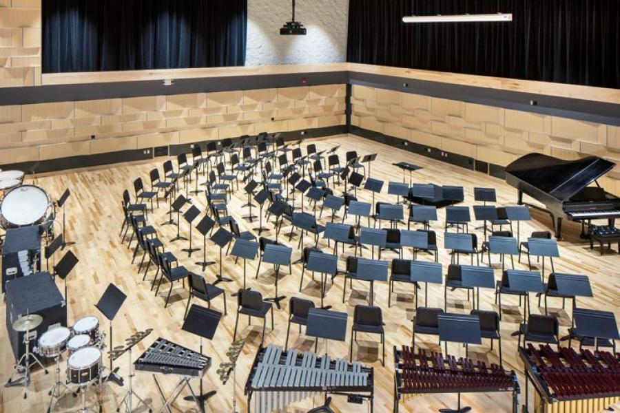 A rehearsal hall in the new Music Center.