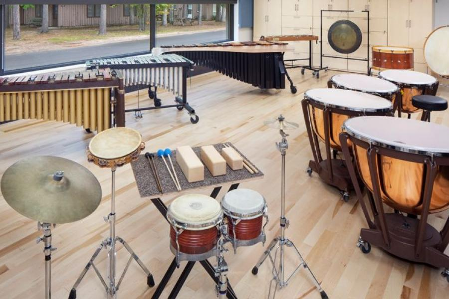 Percussion instruments in the new Music Center.