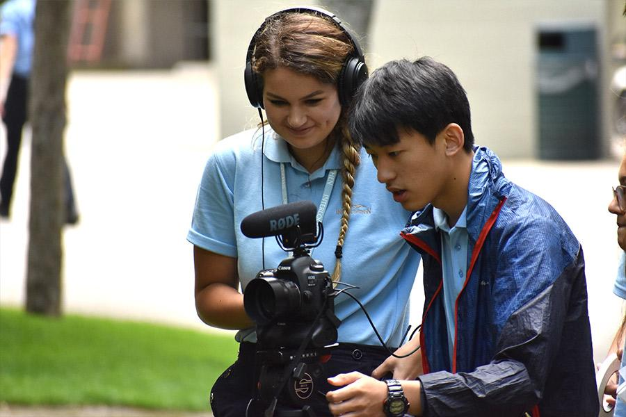 Two filmmaking students work together during Film & New Media course at Interlochen Arts Camp