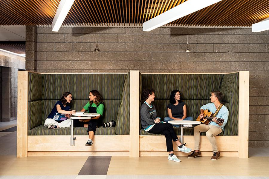 Students relax in the Music Center lounge between classes at Interlochen Arts Academy