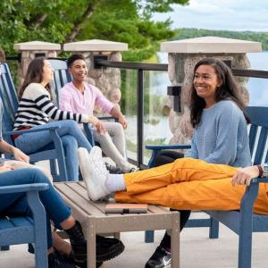 A group of Arts Academy students enjoying Dottie's Deck.