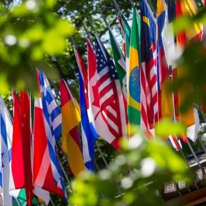 The flags outside of Kresge Auditorium