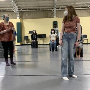 Masked Interlochen Arts Academy students rehearse of The Little Prince